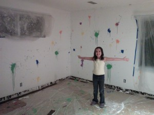 This is me with my new splatter paint walls